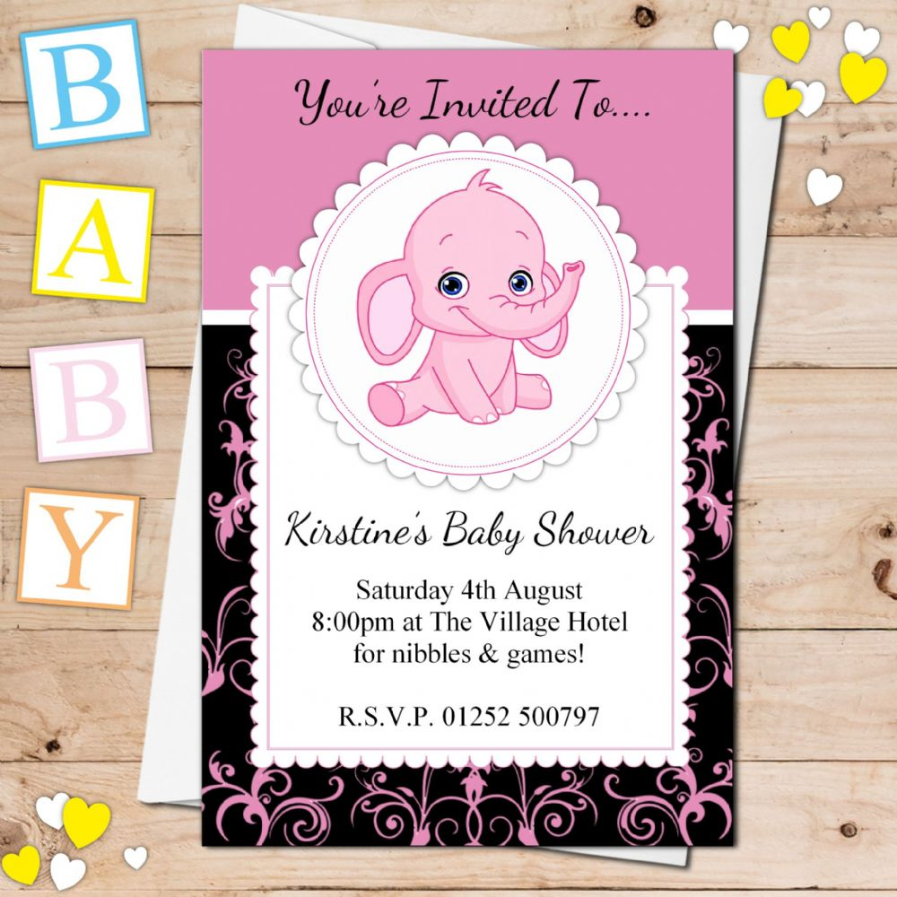 10 Personalised Cute Pink Elephant Baby Shower Invitations N22